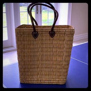 Large Straw Tote with Leather Handles